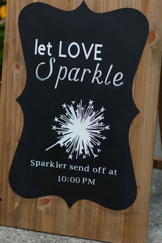 Black and White Send Off Sign with picture of sparklersh