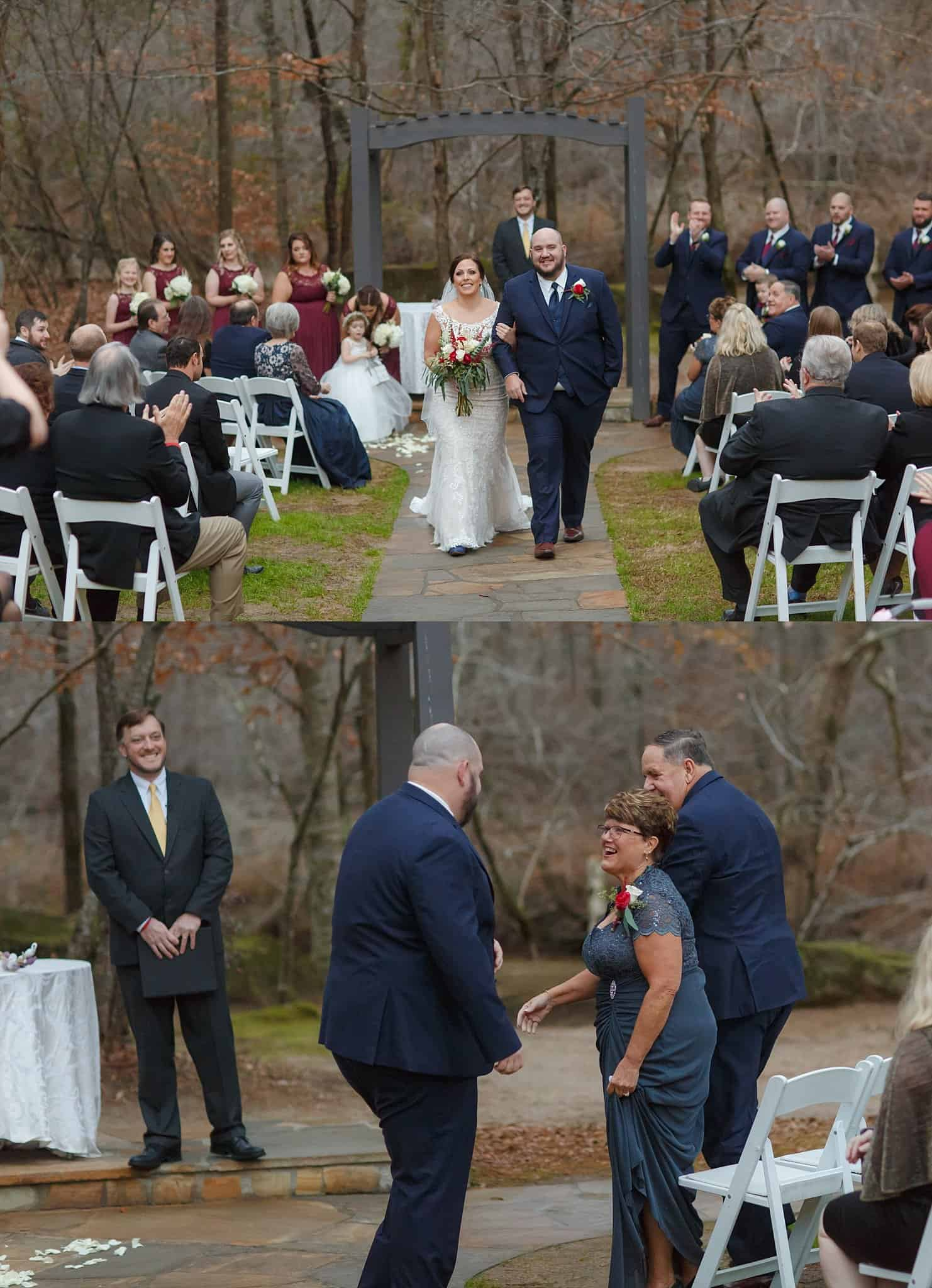 Groom Escorts Bride down the Aisle at recessional and returns to escort mother of the groom Wedding Ceremony Recessional