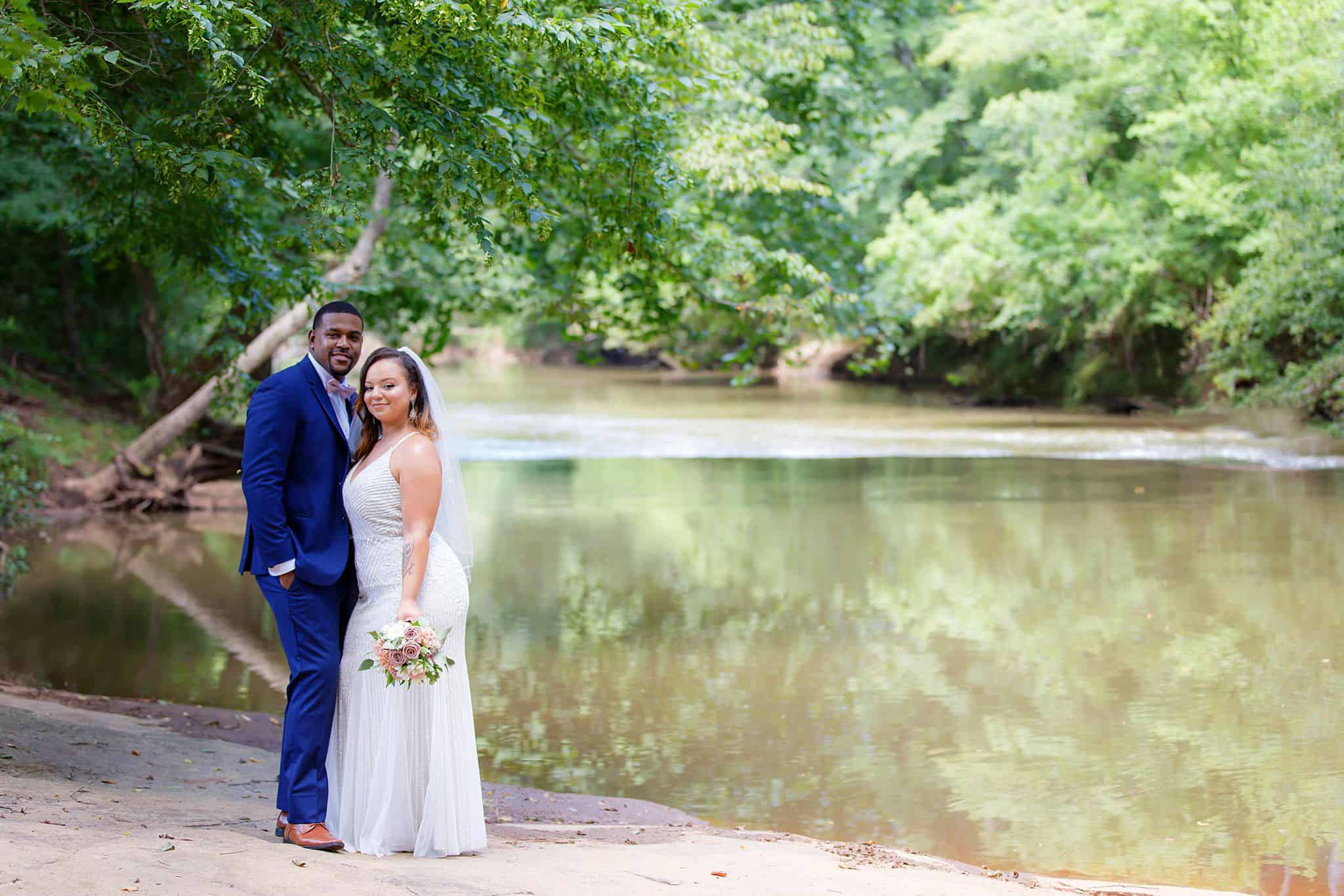 Bride and Groom on the banks of the Yellow River in Gwinnett County