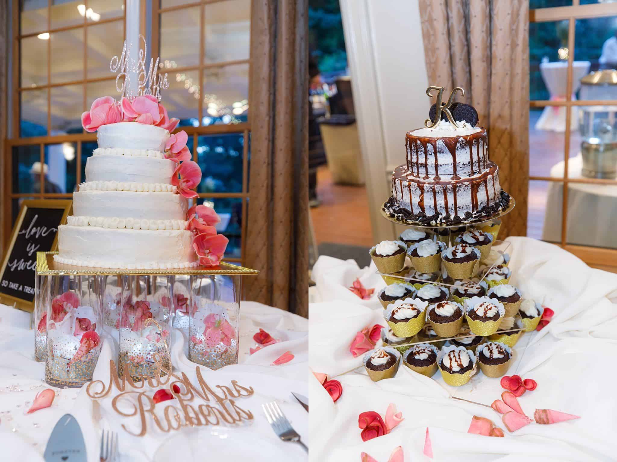 Wedding Cake on left, Grooms Cake on right