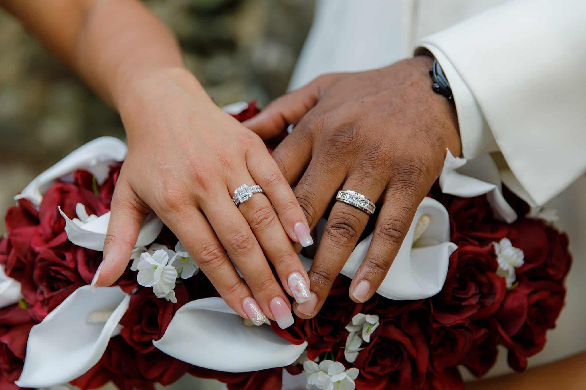 bride and groom show off rings