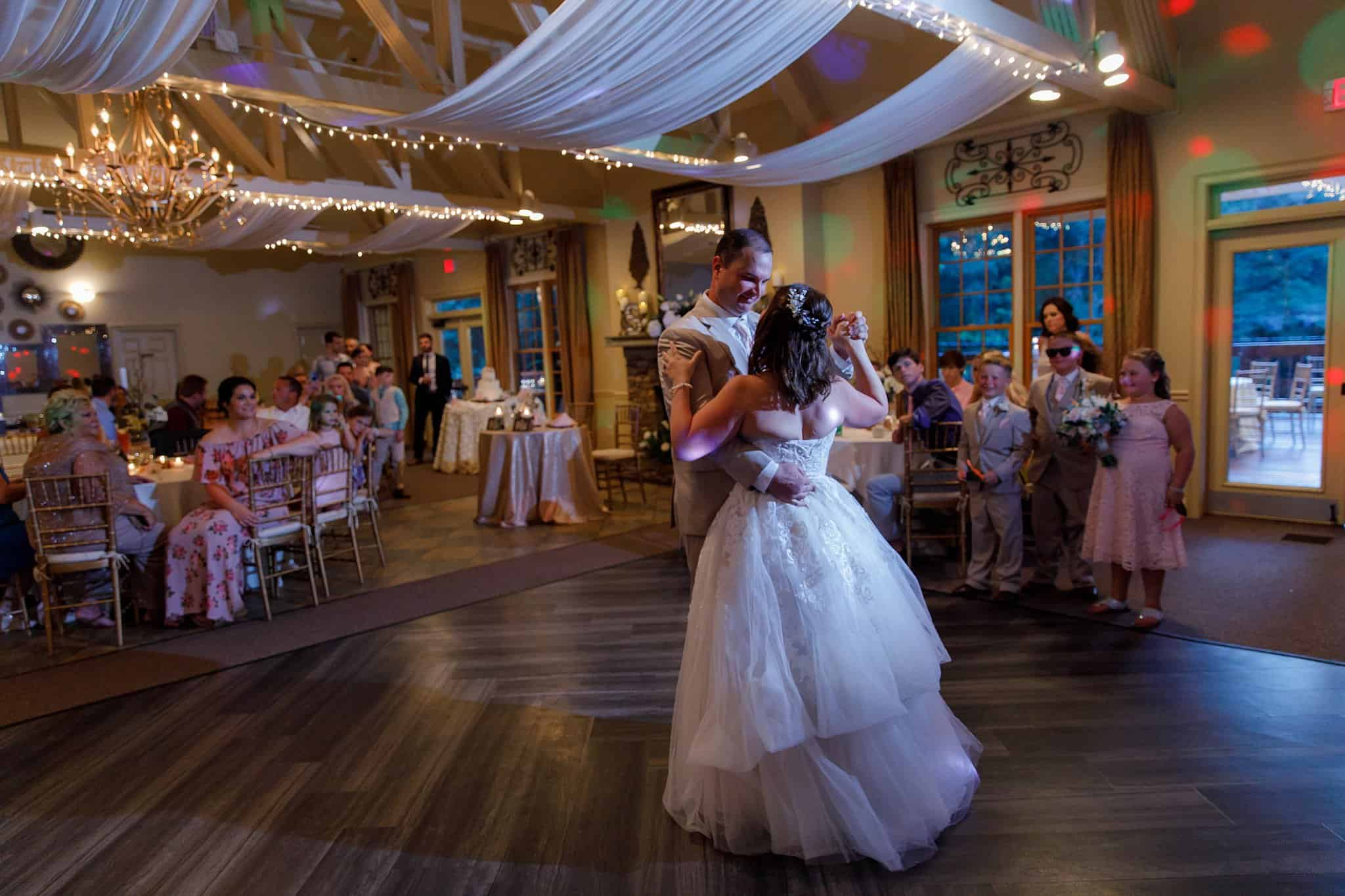 Bride and Groom 1st Dance on Dancefloor at Wedding Reception