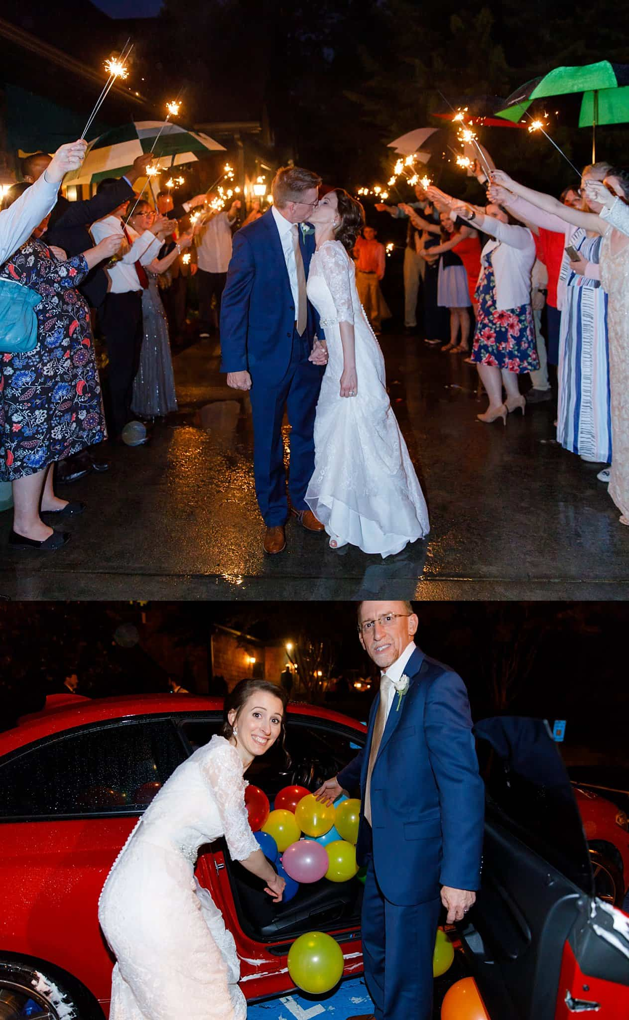 Bride and groom sparkler exit with balloons in car