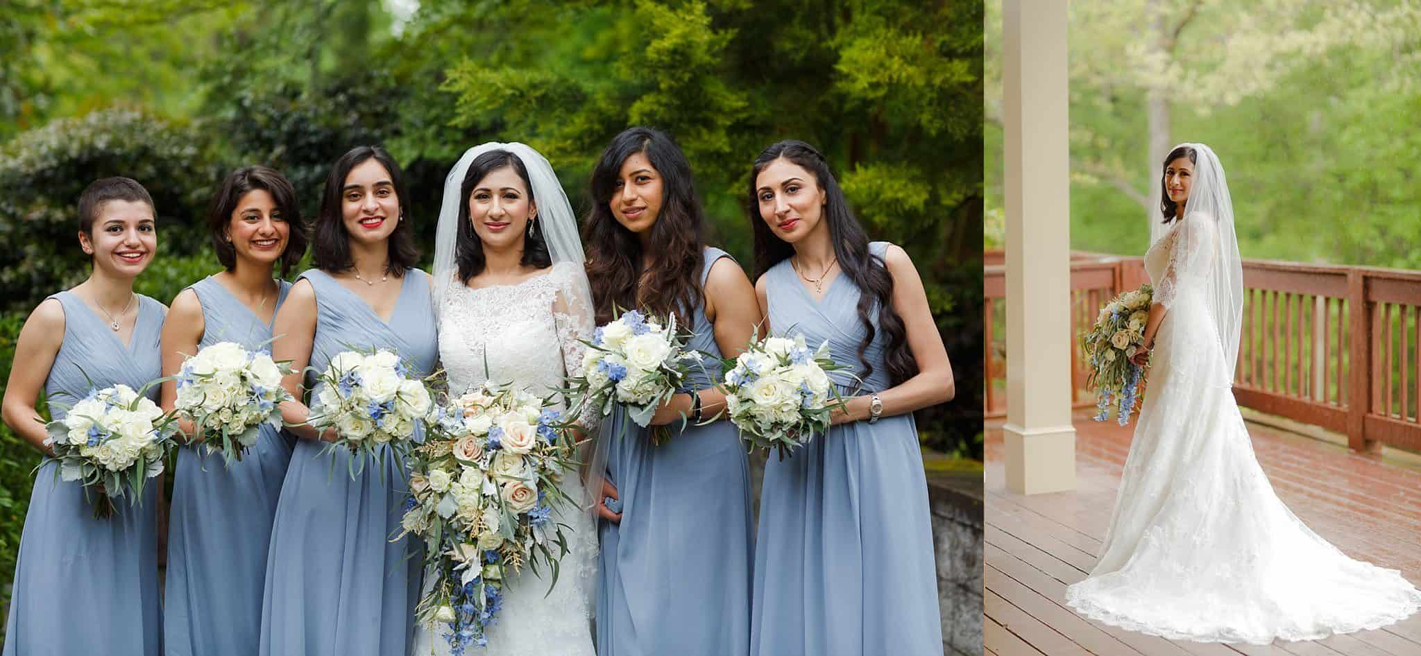Two photos. Left photo: Bridesmaids with Bride in Blue Bridesmaids Dresses; carrying blush, ivory, blue flowers. Right photo: Bride on deck posing in bridal gown