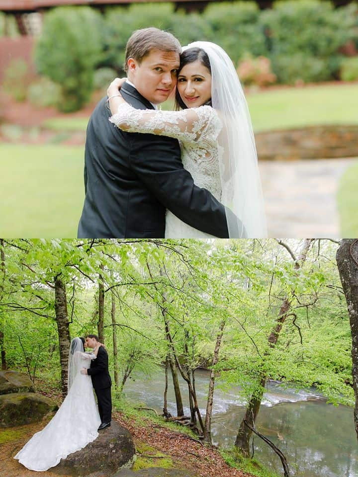 Two photos of Bride and Groom with one on the banks of the Yellow River kissing and the top photo showing bride and groom looking back at photographer while embracing each other