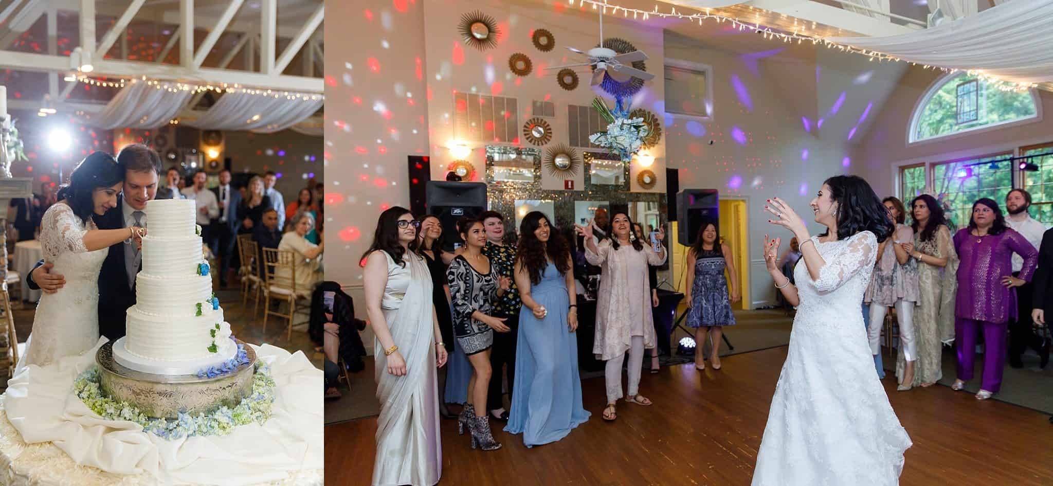 Two photos: 1st photo: Bride and Groom at Cake Cutting Four Tiered Wedding Cake with Blue and Ivory Roses atop a Silver Cake Plateau; 2nd photo: Bride tossing bouquet on dance floor to ladies